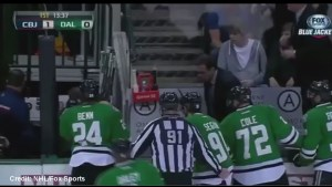 Dallas Stars forward Rich Peverley collapses on bench during game