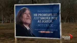Satirical campaign posters appeared around the city this morning, mocking the mayor.