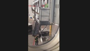 Luggage thrown off Air Canada jetway stairs