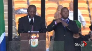 The so-called sign language interpreter at the Mandela memorial speaks.