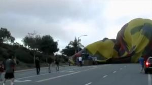 Hot air balloon lands in the middle of major street in Southern California