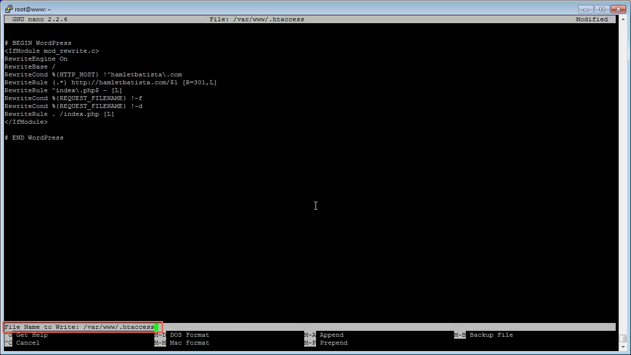 Redirect WWW to Non-WWW on Apache Step 12 - Save Changes