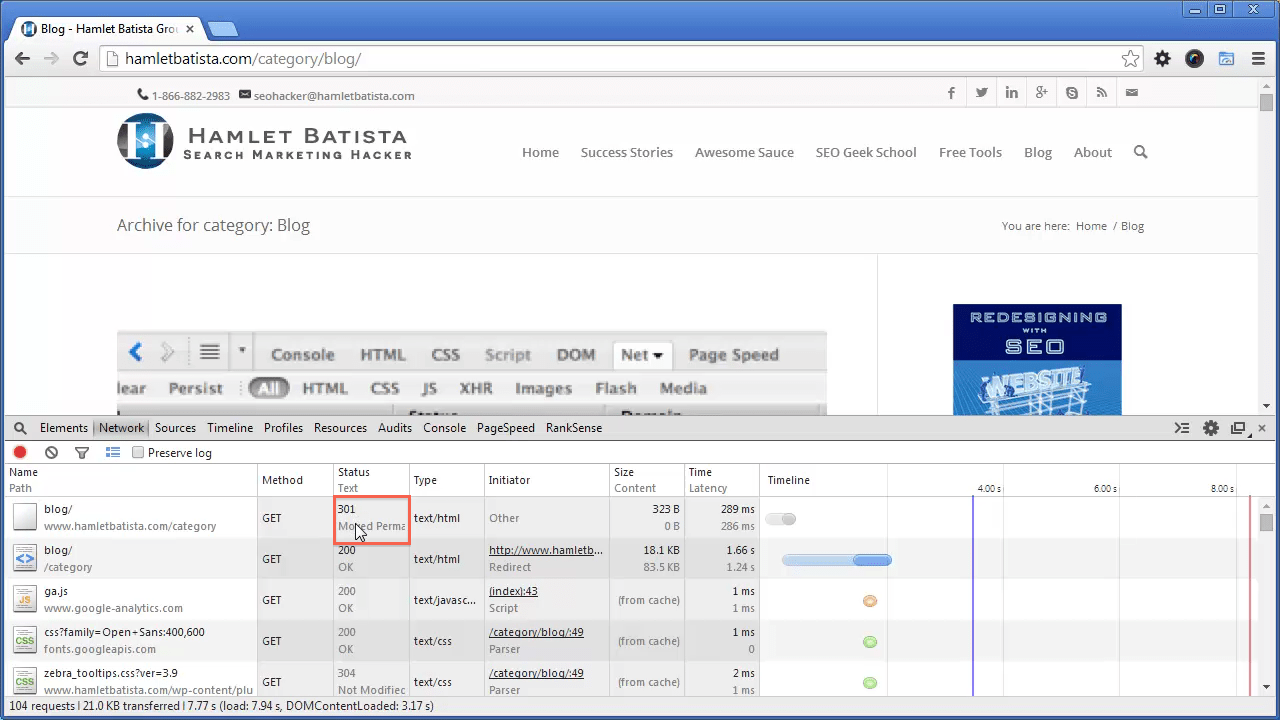 Redirect WWW to Non-WWW on Apache Step 21 - Notice HTTP Response