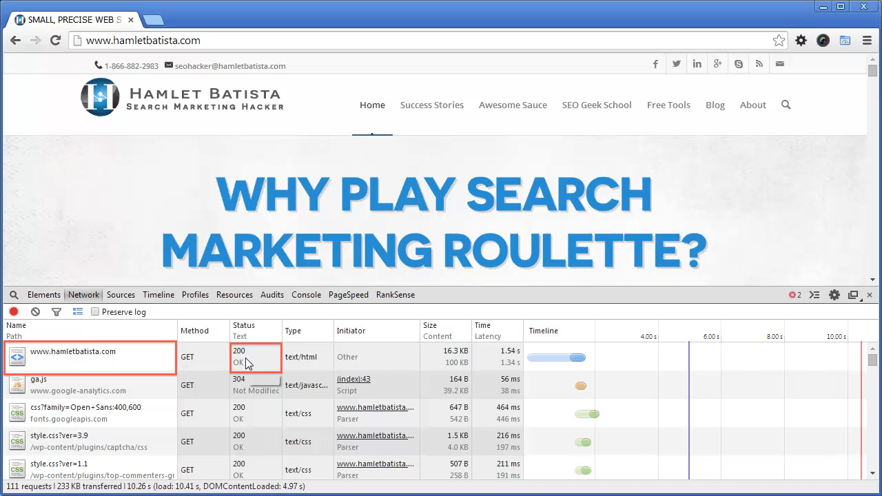 Redirect WWW to Non-WWW on Apache Step 2 - Notice HTTP Response