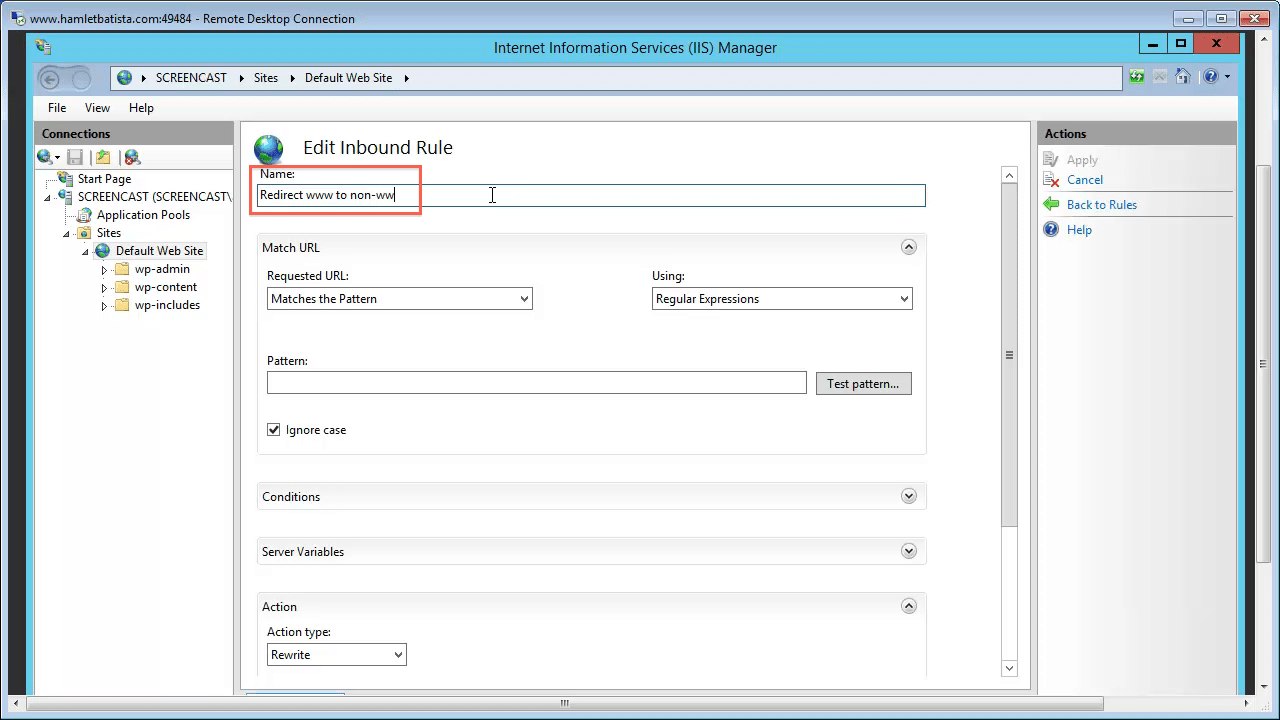 Redirect WWW to Non-WWW on IIS Step 14 - Enter Rule Name