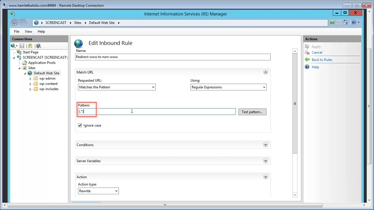 Redirect WWW to Non-WWW on IIS Step 15 - Enter Pattern