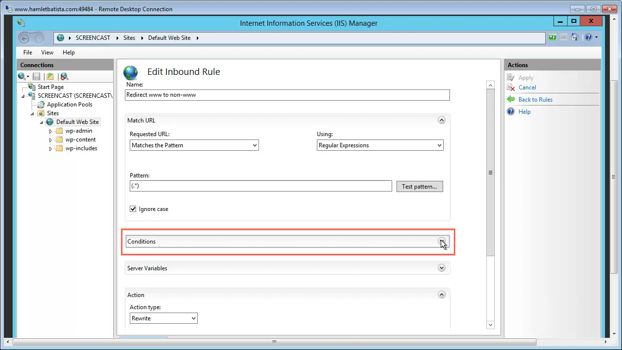 Redirect WWW to Non-WWW on IIS Step 17 - Open Conditions