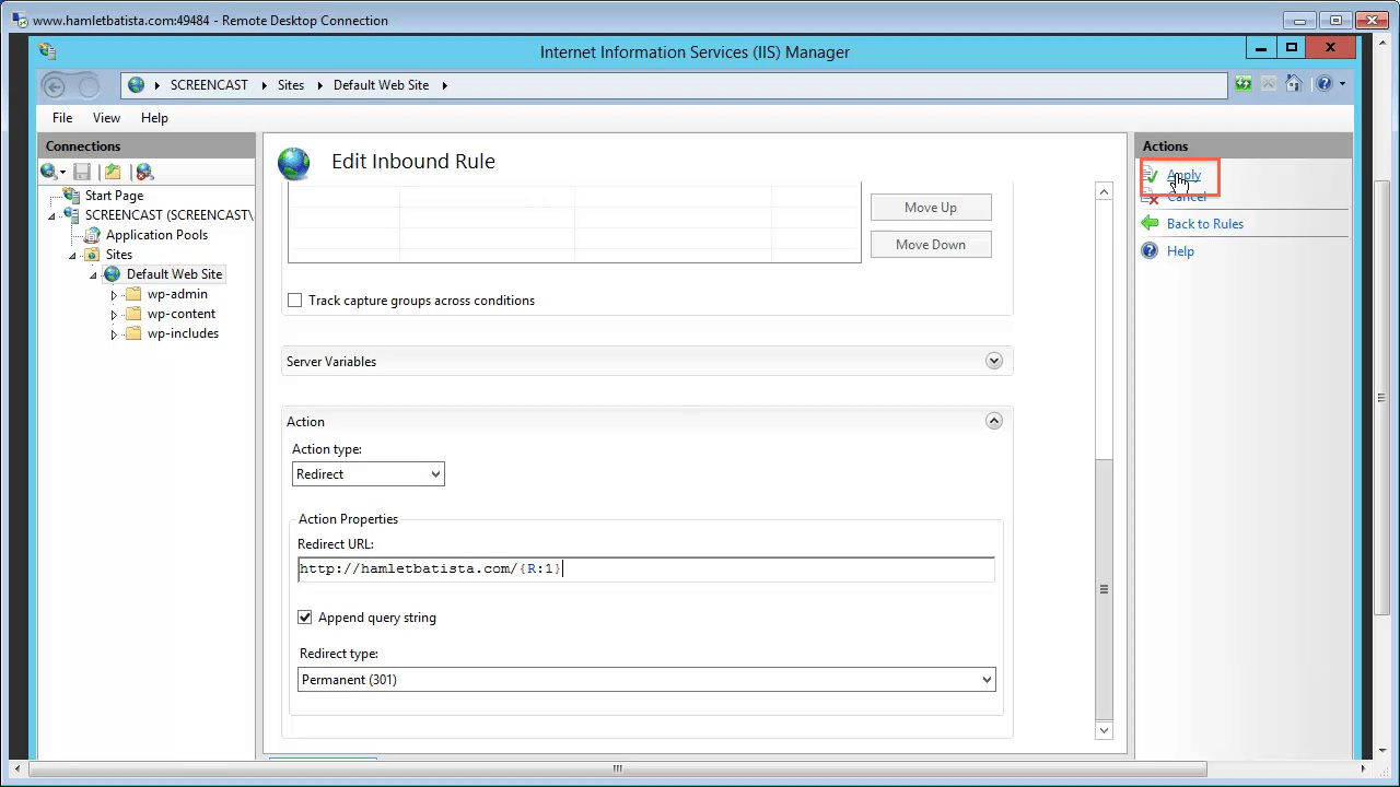 Redirect WWW to Non-WWW on IIS Step 26 - Apply Rule