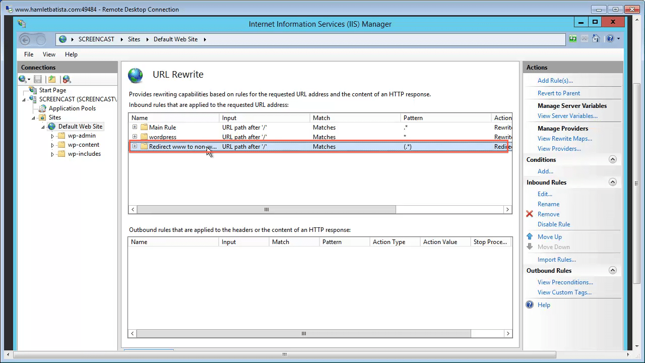 Redirect WWW to Non-WWW on IIS Step 28 - Highlight New Rule
