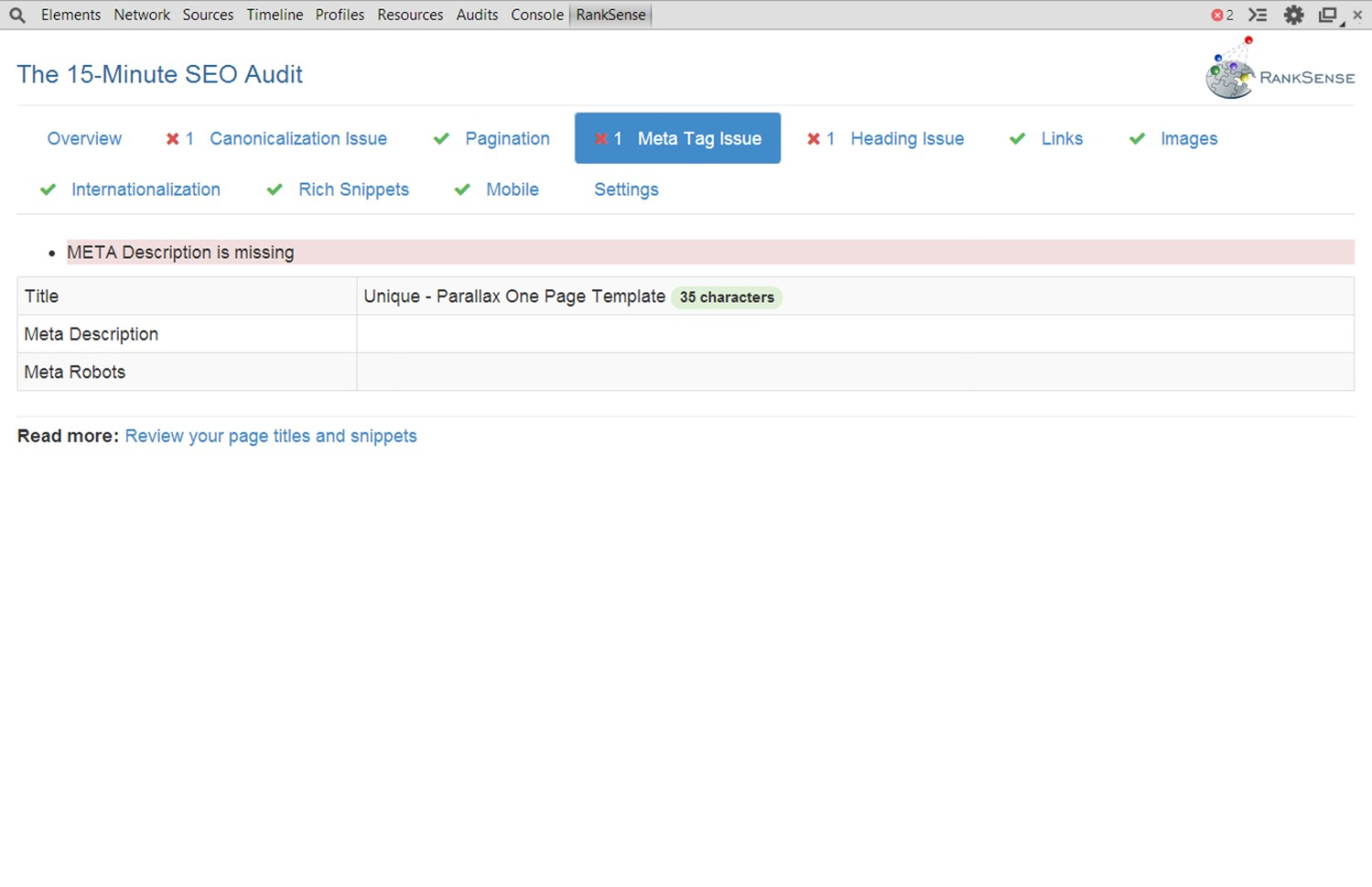 15 Minute SEO Audit Screenshot 2 Meta Tags