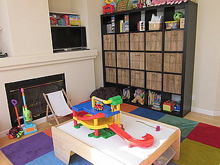 Storage area and nap corner, train/play table in the middle