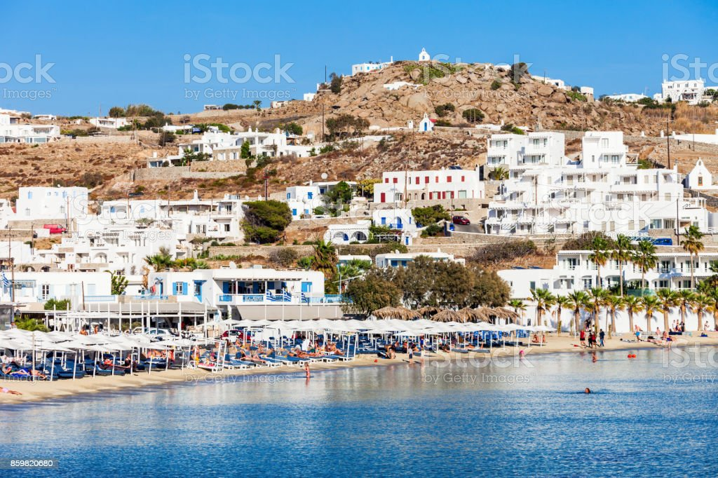 Mykonos Island Beach Greece Stock Photo   More Pictures of Aegean     Mykonos island beach  Greece royalty free stock photo
