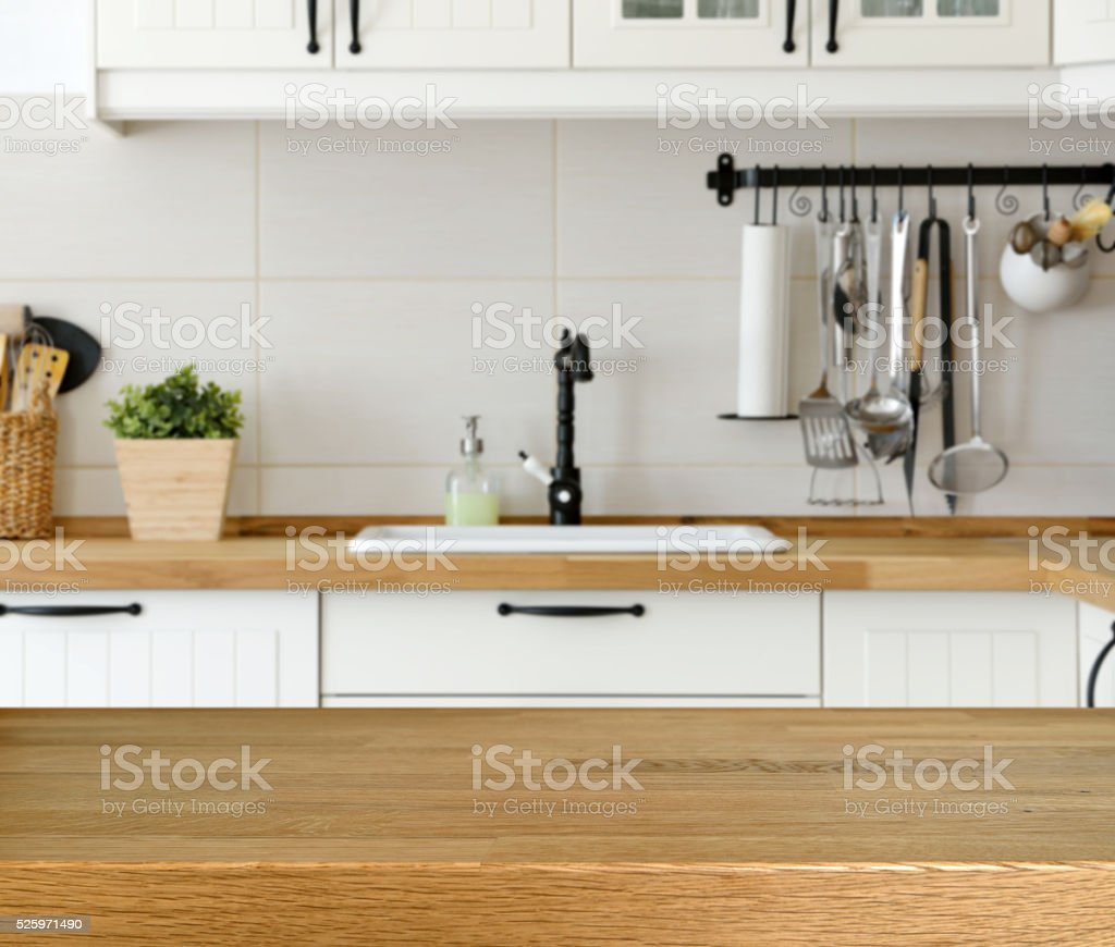 wooden table with kitchen counter and sink background gm kitchen counter table Wooden table with kitchen counter and sink background royalty free stock photo