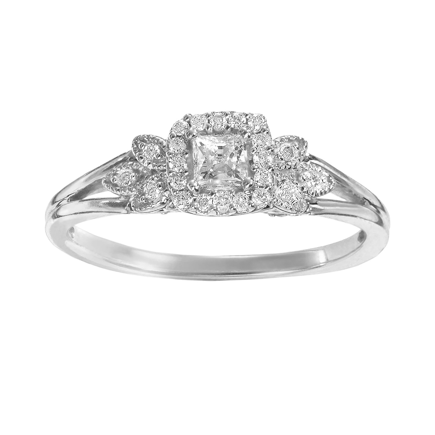 simply vera vera wang diamond leaf halo engagement ring in 14k white gold 14 ct tw halo wedding ring Simply Vera Vera Wang Diamond Leaf Halo Engagement Ring in 14k White Gold 1 4 ct T W