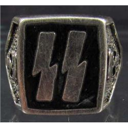 GERMAN NAZI WAFFEN SS OFFICERS LIGHTNING BOLT RUNIC RING SS Lightning Bolts
