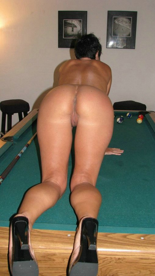 Amature girl on pool table