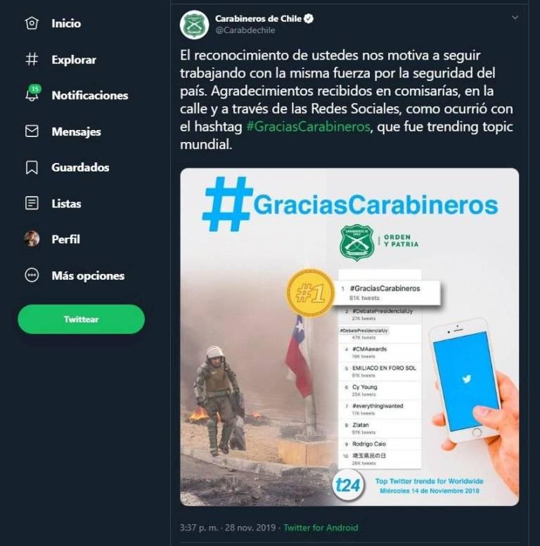 Carabineros tweet