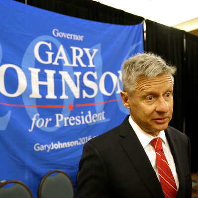 Former New Mexico Gov. Gary Johnson speaks to supporters and delegates at the National Libertarian Party Convention in Orlando, Fla., on Friday. The Libertarian Party nominated Johnson as its presidential candidate Sunday.