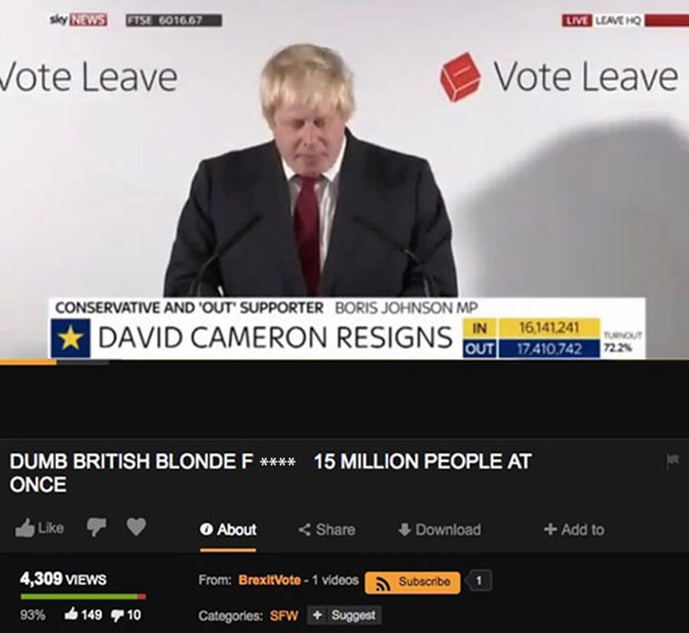 Screengrab of Boris Johnson's speech from the pornographic website Pornhub.com.