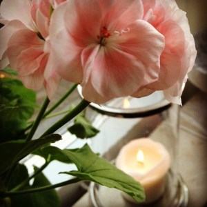 ljus och blomma