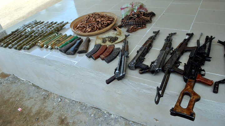 ARMS AND AMMUNITIONS RECOVERED BY THE JTF DURING A RAID IN MAIDUGURI
