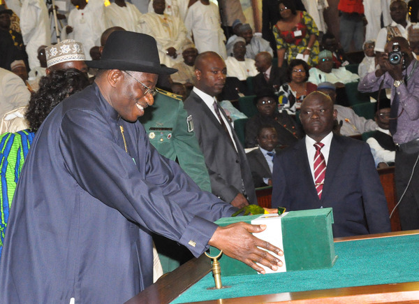 President Goodluck Jonathan laying the budget before the National Assembly in 2012