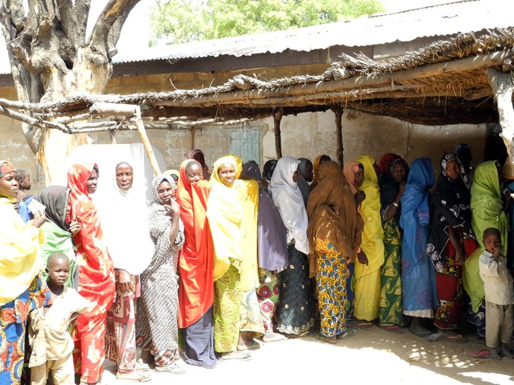 FILE PHOTO: Women queuing to vote in Plateau [Photo: NAN]