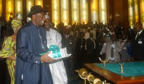 President Goodluck Jonathan laying the 2013 budget before the National Assembly
