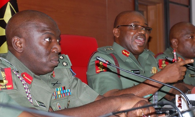Directo, Army Public Relations, Brig-Gen Ibrahim Attahiru, left and Chief of Army Staff,  Lt.-Gen. Azubuike Iherjirika