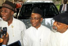 Rivers governor, Rotimi Amaechi, Nasir El-Rufai and Chris Ngige before travelling to SSS office in Abuja.
