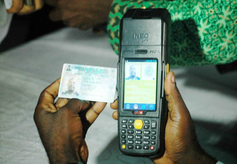 PIC.8.  FIELD TEST OF INEC SMART CARD READER IN LAGOS STATE