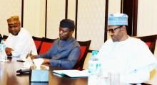 President Muhammadu Buhari and Vice President Yemi Osinbajo in a meeting with House of Reps members
