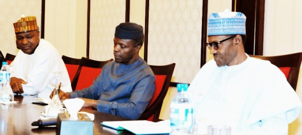 President Muhammadu Buhari and Vice President Yemi Osinbajo in a meeting with House of Reps members