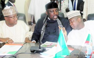 From Left: Gov. Muhammadu Bindo of Adamawa; Gov. Rochas Okorocha of Imo and Gov. Abdul-Azeez Yari of Kebbi State during the Progressive Governors Forum Meeting in Yola