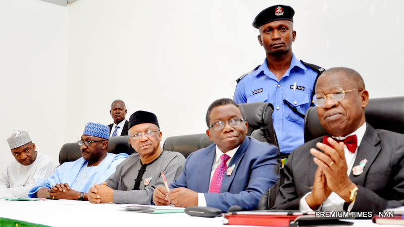 From Left: Executive Director, National Primary Health Care Development Agency, Dr Ado Muhammed; Director-General, National Orientation Agency, Mr Mike Omeri; Minister of State for Health, Dr Osagie Ehanire; Minister of Health, Prof. Isaac Adewole, and  Minister of Information And Culture, Alhaji Lai Mohammed,   during a Joint Ministerial News Conference to give update on the outbreak of Lassa Fever in Nigeria