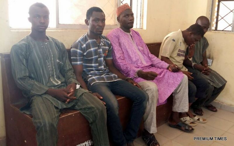 Five suspects arraigned on Friday, June 10, 2016, in Kano over the killing of 74-year-old Bridget Agbahime for alleged blasphemy. Credit: Mohammed Kabir.