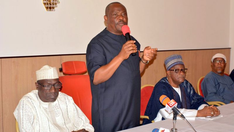 Governor Nyesom Wike speaking at the closed door meeting