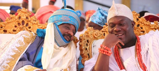 Emir of Kano and Ooni of Ife at the coronation of His Royal Majesty, Omo n'Oba n'Edo Uku Akpolokpolo, Oba Ewuare II, Oba of Benin, on Thursday.