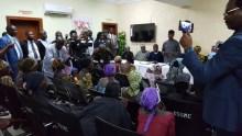 VP Yemi Osinbajo meets 21 released Chibok girls in Abuja on October 13, 2016