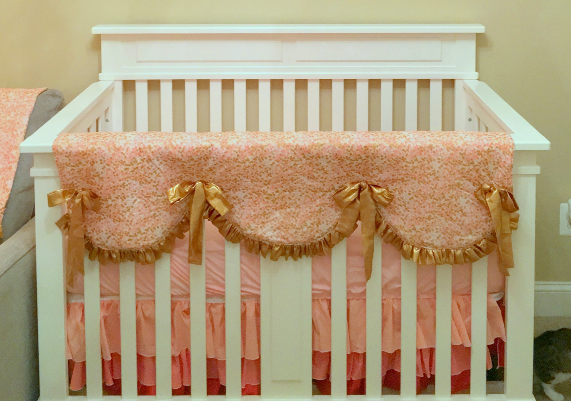 Extraordinary Curved Rail Crib Rail Cover Pattern Free Scalloped Rail Cover Tiered Skirt Coral Pink Brambleberry Copy 20160502153408 Crib Rail Cover baby Crib Rail Cover