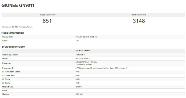 Gionee Elife S8 GeekBench
