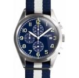 Regimental chrono bleu bracelet bleu et blanc Spalding, 235€