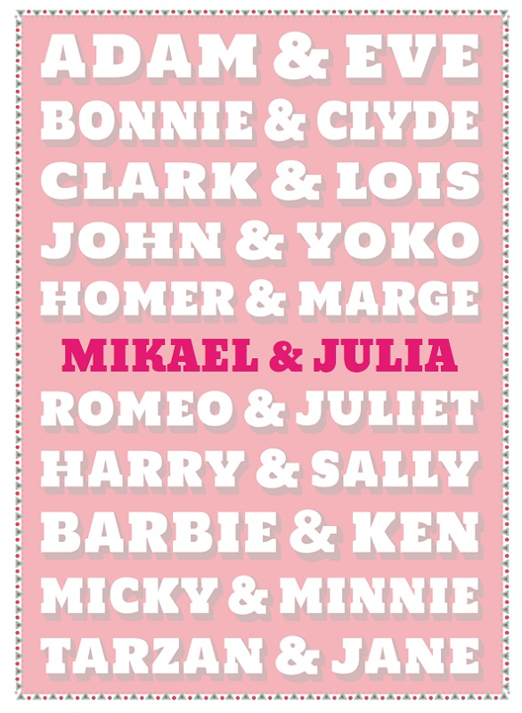 poster personnalisable couples celebres