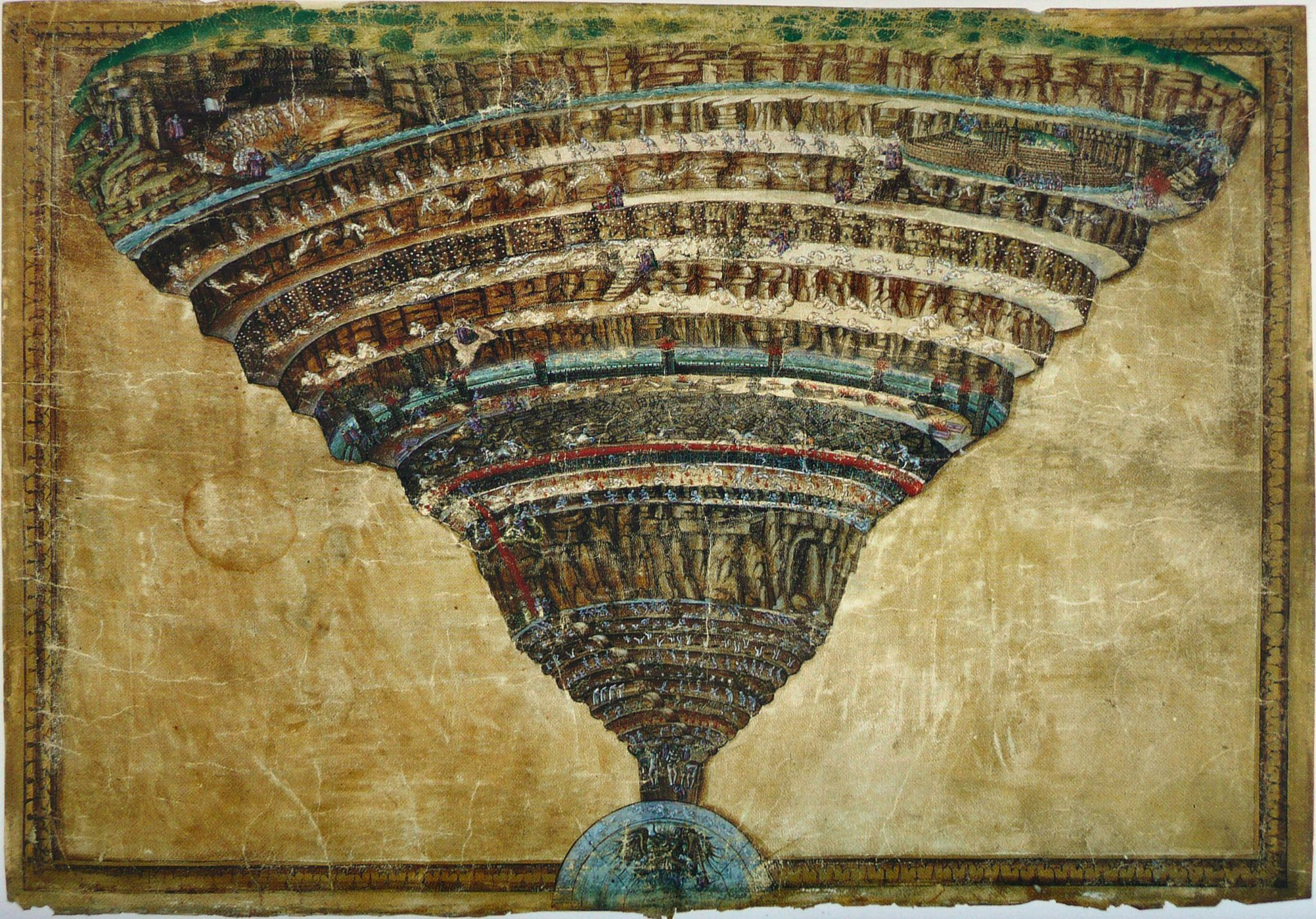 9 cercles de l'enfer par Dante dans la Divine Comedie