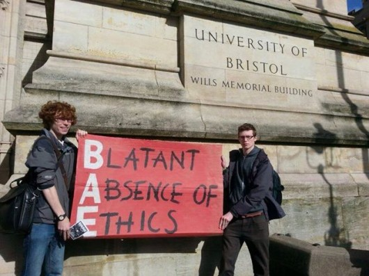 Students recently protested against nuclear arms companies at uni