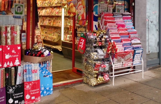 Newsagents selling Christmas stuff - festive lifesavers