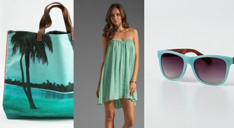 aqua summer color trend purse dress and sunglasses lovesurf