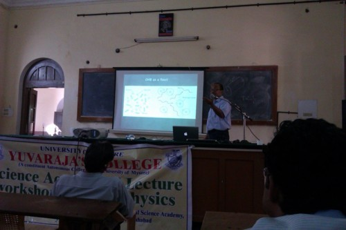 Prof Biman Nath speaking on CMBR in his second lecture