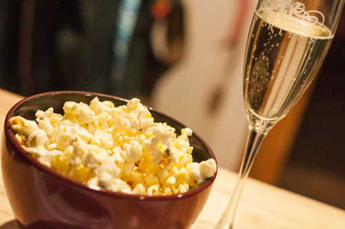 champagne and popcorn