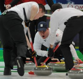 John Shuster calls the sweeping. Photo courtesy of USOC.